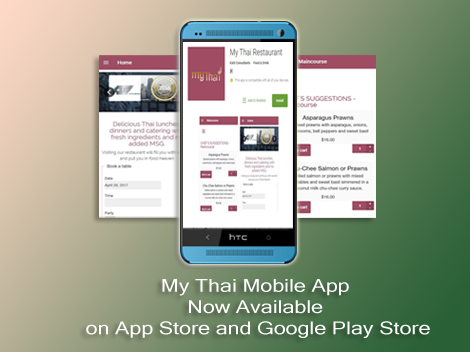 My Thai Restaurant App is now available on on iTunes and Google Play.